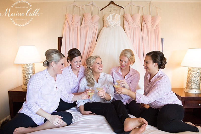 Bride | The HIlton President Kansas City | Emily Hart Bridal Gown | Marissa Cribbs Photography | Bridesmaids | Getting Ready | Bella Bridesmaids KC