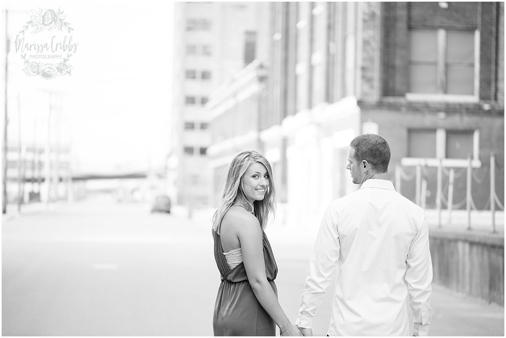 Lindsey & Corey Engagement | KC Engagement Photographer | Marissa Cribbs Photography | West Bottoms | 12th Street Bridge | KC Skyline | Parkville, MO_0841.jpg