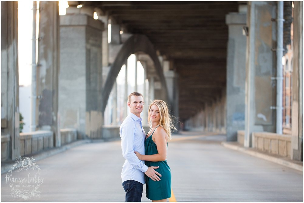 Lindsey & Corey Engagement | KC Engagement Photographer | Marissa Cribbs Photography | West Bottoms | 12th Street Bridge | KC Skyline | Parkville, MO_0844.jpg