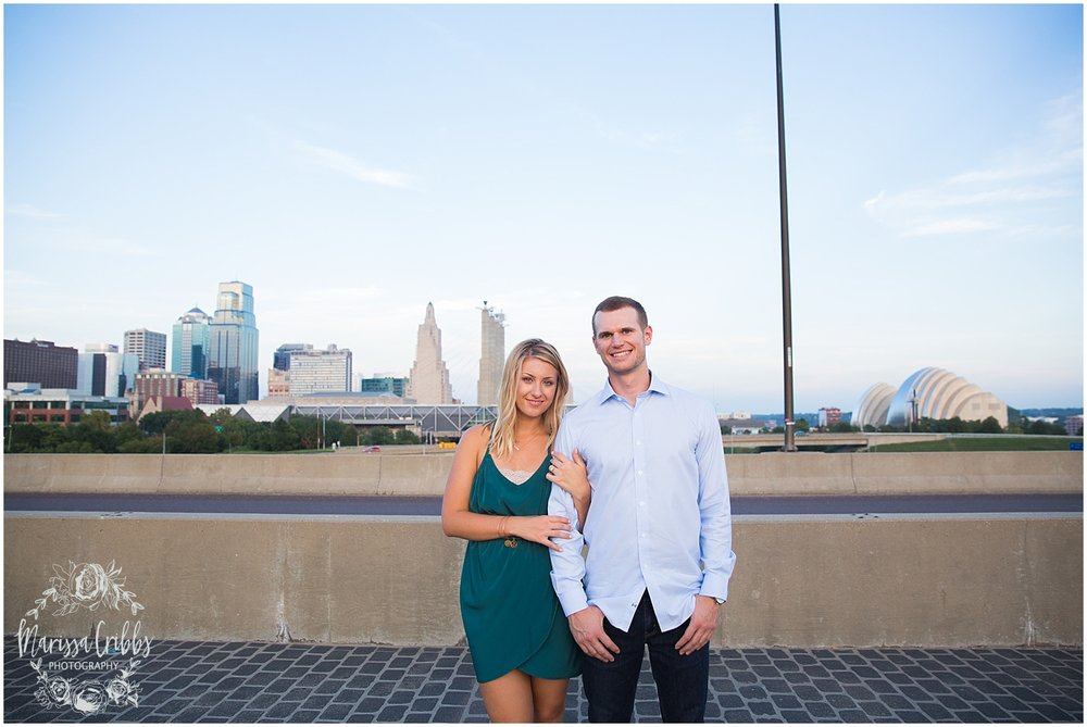 Lindsey & Corey Engagement | KC Engagement Photographer | Marissa Cribbs Photography | West Bottoms | 12th Street Bridge | KC Skyline | Parkville, MO_0848.jpg