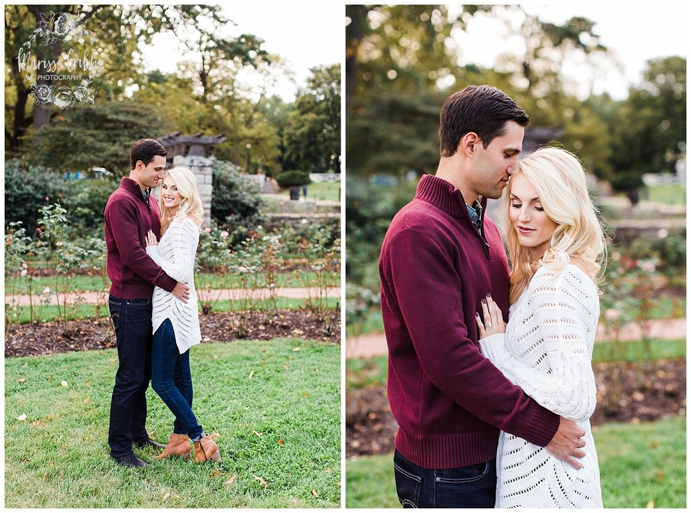 CLOE & GABE LIBERTY MEMORIAL ENGAGEMENT | MARISSA CRIBBS PHOTOGRAPHY | LOOSE PARK ENGAGEMENT_3442.jpg