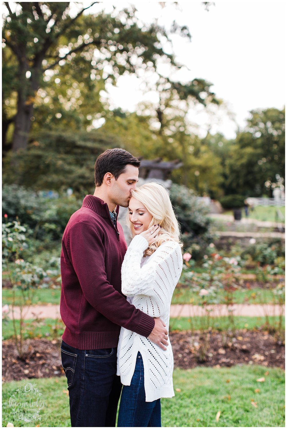 CLOE & GABE LIBERTY MEMORIAL ENGAGEMENT | MARISSA CRIBBS PHOTOGRAPHY | LOOSE PARK ENGAGEMENT_3443.jpg