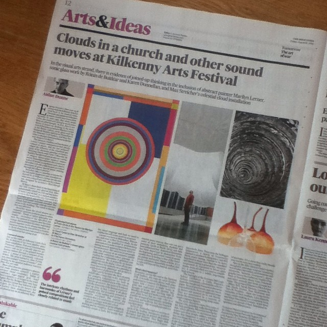 """Donnellan explores the curative potential of sound in ingenious sonic pieces."" -Aiden Dunne in the Irish Times today. ""In Cercle, Donnellan explores various aspects of the healing, therapeutic qualities of sound, drawing on several alternative therapies and theories. They begin with the meditative Buddhist practice of drawing a circle, Enso. Then on to the Solfeggio frequencies, a family of frequencies claimed to produce healing tones, and 432 Hertz music tuning, claimed to be more beneficial in many ways than the standard 440 Hertz tuning in general use. All are incorporated or expressed in blown glass works, some of which are used as amplifiers. It amounts to a subtle, engrossing body of work."""