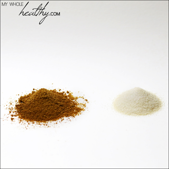 Coconut sugar (left), cane sugar (right)