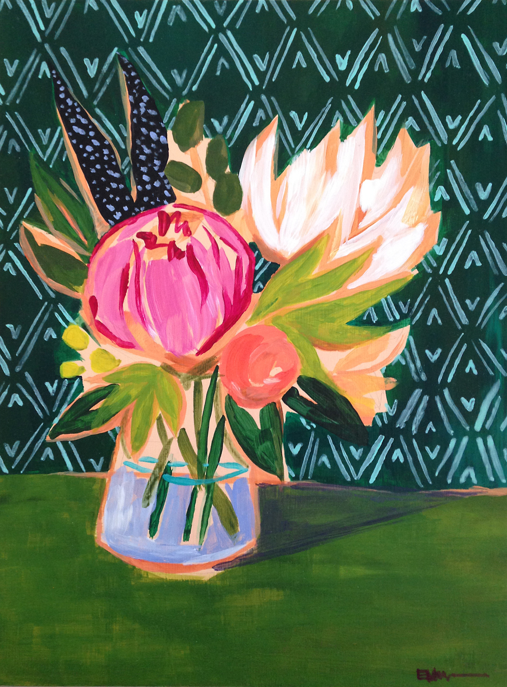 flowers for karen   |  acrylic on panel after the manner of lulie wallace. 2013.