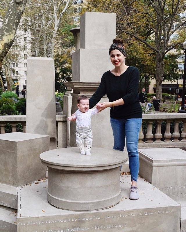🆘✴️ PSA ✴️🆘 last chance to catch #SharonHayes' prototype monument for @monument_lab in Rittenhouse Square — our favorite 'If They Should Ask' addresses the absence of women in public monuments in Philadelphia (only TWO in a city chock-a-block with the like) — nine pedestals (modeled after existing monuments, scaled to half size and assembled together) stand empty but inscribed at their base with the names of Philadelphia women from the mid-1600s to the present day who could be or could have been recognized with monuments of their own. I walk through this square half a dozen times daily and hate to see it go — but glad my own wee Philadelphia woman got plenty of pedestal time while it lasted. 💕