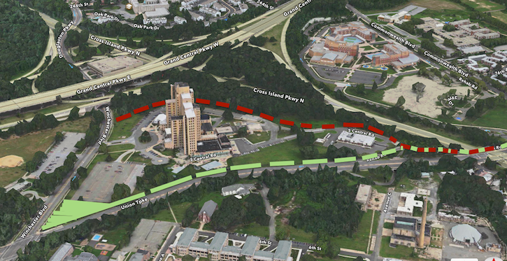 Two potential paths around Creedmoor's building 40.
