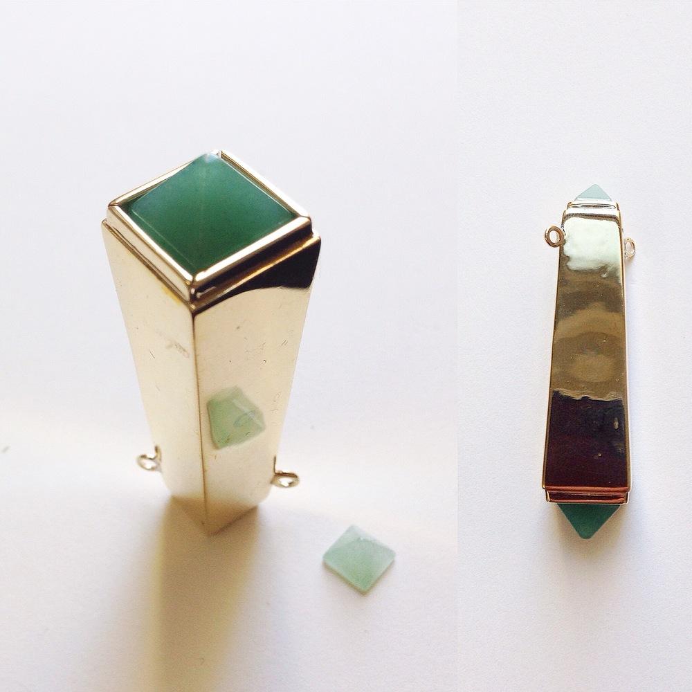 Obelisk Pendant-3d design and printed, 14K Gold, two Aventurine pyramid cut stones.