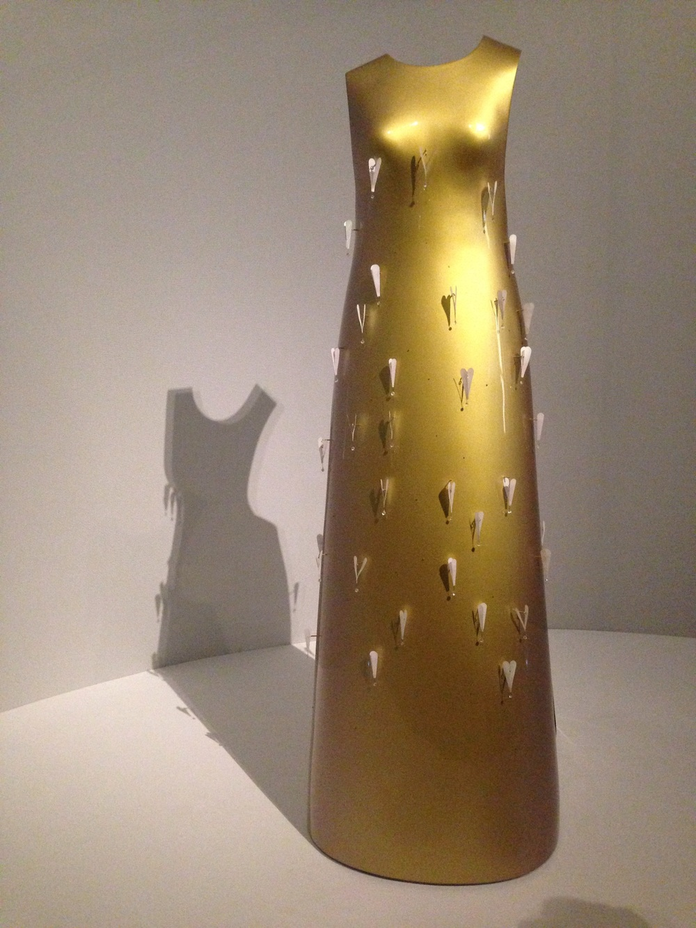 Hussein Chalayan cast fiberglass dress.  This backless dress stands on its own without a mannequin.