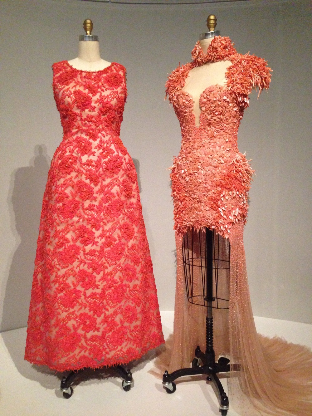 Alexander McQueen-coral, dyed shells, and pearls.  The dress to the right is one of my top three favorites from the show.