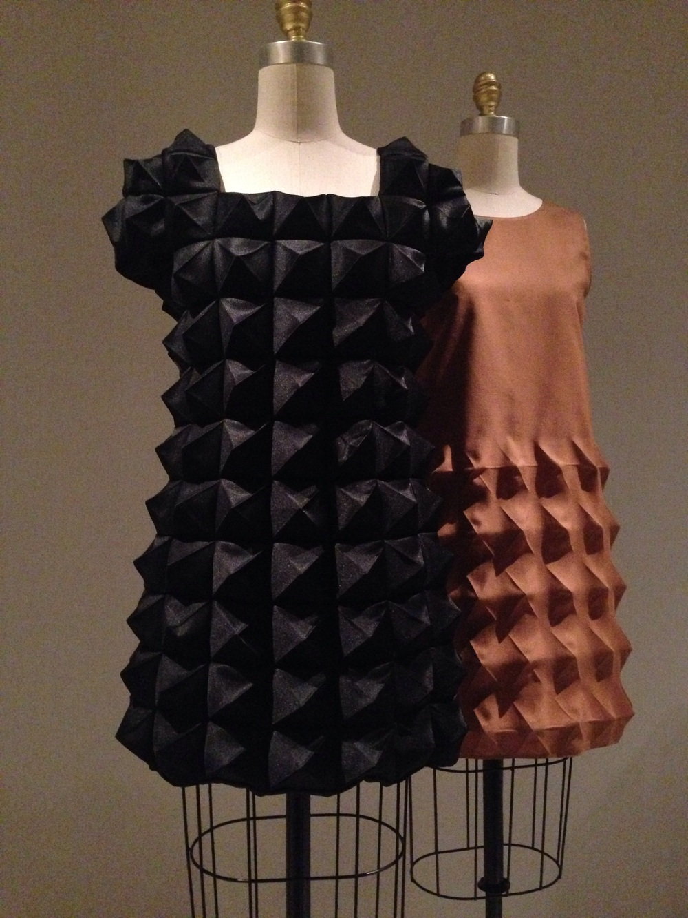 Pierre Cardin molded dresses.  Each pyramid was pressed with individual molds.