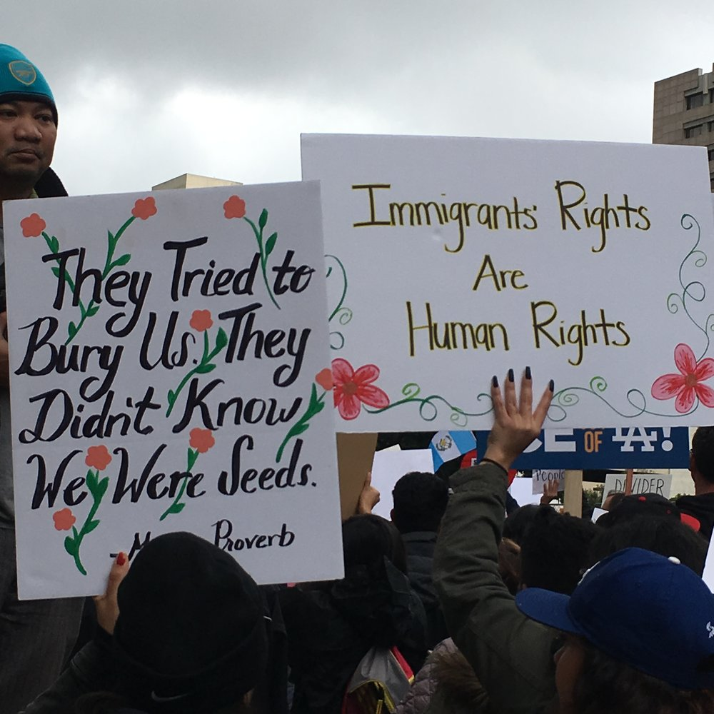 Photo I took on a rainy Saturday morning from the Immigrants March earlier this year.