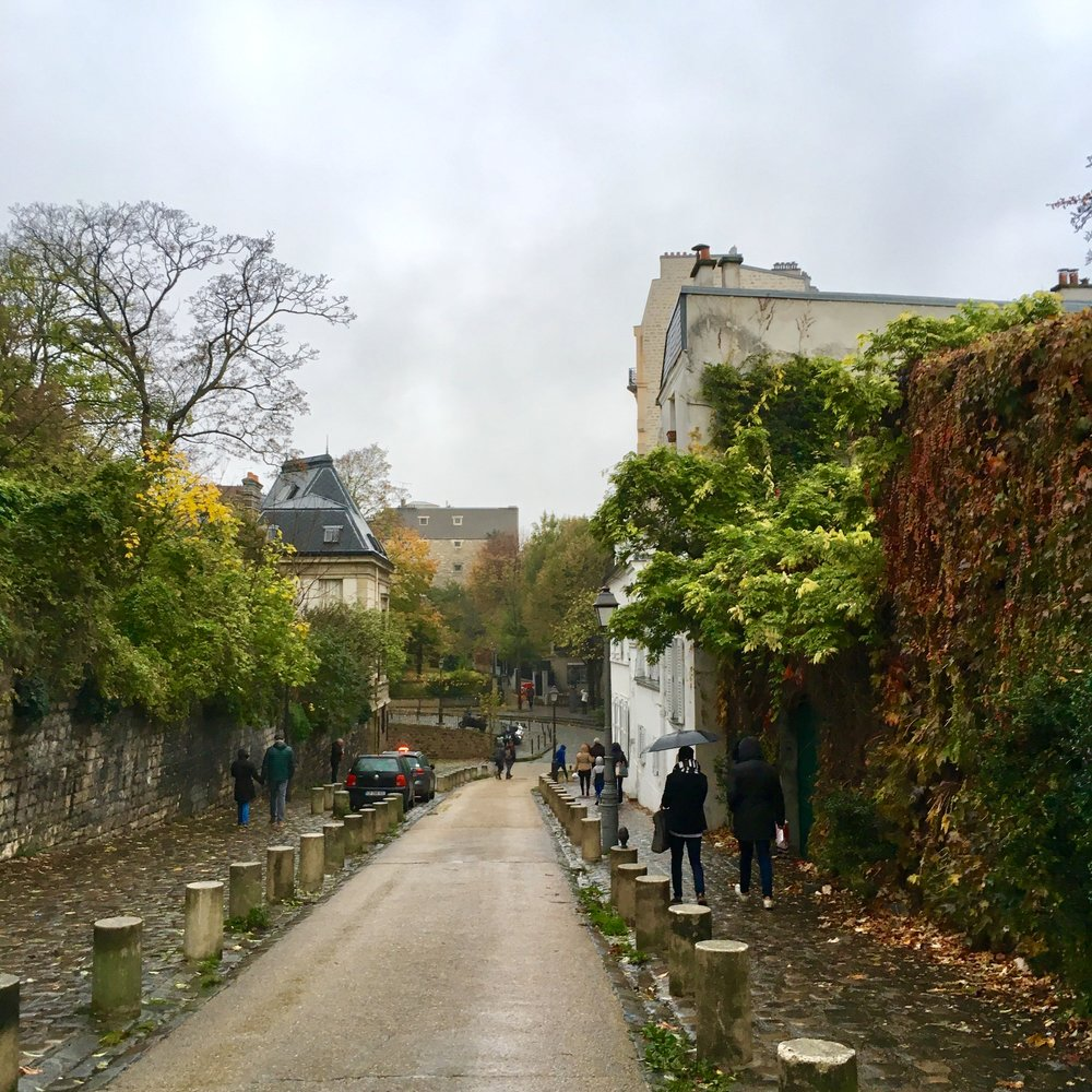 no paved roads in Montmartre the oldest city in Paris.  I definitely fell on my back and slipped down the wet, rocky path.