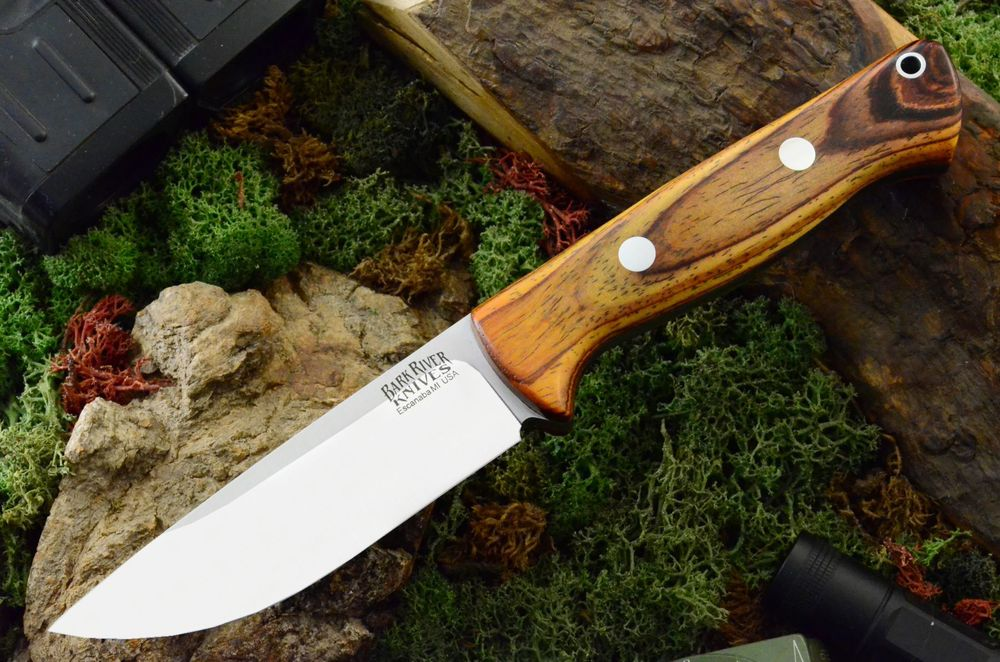 Example of the Bravo 1 (in A2 steel) without the thumb ramp, this one with desert ironwood scales. See the stunning variety of scale options from Bark River Knives. Photo ©barkriverknives.com