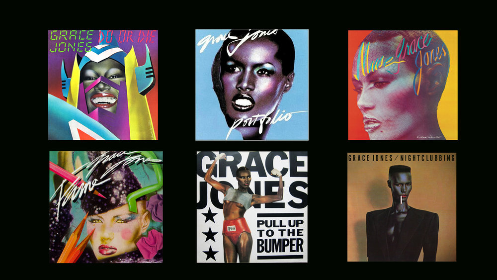 As I plunged deeper into the creative mystery of Grace Jones, I realized that she is quite the enigmatic figure - and I may never know her true reasons for this self-  representation. I began collecting Grace Jones memorabilia, posters, record covers and magazine articles to see how many different ways I could see her. I am to this day a huge fan of hers.  One of my most memorable moments was standing 2 feet away from her at 3 am at NYC's famous Club Shelter – where she performed. I stood in awe as she was singing right to me! I could talk for hours about Grace Jones, but I am just going to focus on a few aspects of her physical image in the areas of Commercial Visual Art, The Body as Sculpture and Her Presence in Film. The overall message I want to leave you with is that Grace has transcended the world of being a mere entertainment figure, her legacy of visual information has a unique and influential life of its own.