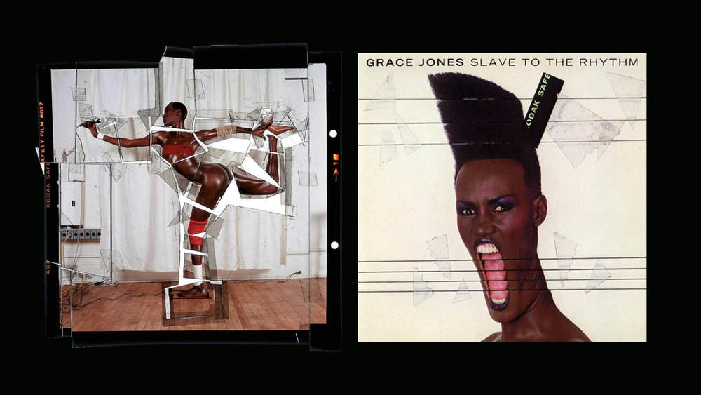 "The Body As Art One of the key figures in Grace Jones' creative representation is her former husband and art director Jean Paul Goude. This bold Frenchman toyed with notions of fetish, African beauty, colonialism and physical power dynamics in his portrayal of grace in album art, music videos and advertising. I'm going to share an excerpt from: The Princess and The Frog,  from 1985 album Slave To The Rhythm ( By Jean Paul Goude) ""I was amazed when I first saw Grace Jones. She was the first to take radical fashion out of its predictable Parisian context and bring it into the music scene, where I had always thought it belonged… I decided, deliberately, to mythologise Grace Jones Black, shiny, muscular people -  aerodynamic in design. 'Twas to emphasize this belief that I painted Grace Jones blue/black. I am no longer sure what I fell in love with; Grace or my idea of what Grace should be.  But in the two years following the birth of our son, there was nothing else in my life….Grace let me take her over completely !"" So taken with Grace's untameable energy, Jean made her his muse. He fused those inspirations into what would become a substantial body of bold innovative physical design. Seen here with his cutup technique used for Slave 2 The Rhythm"