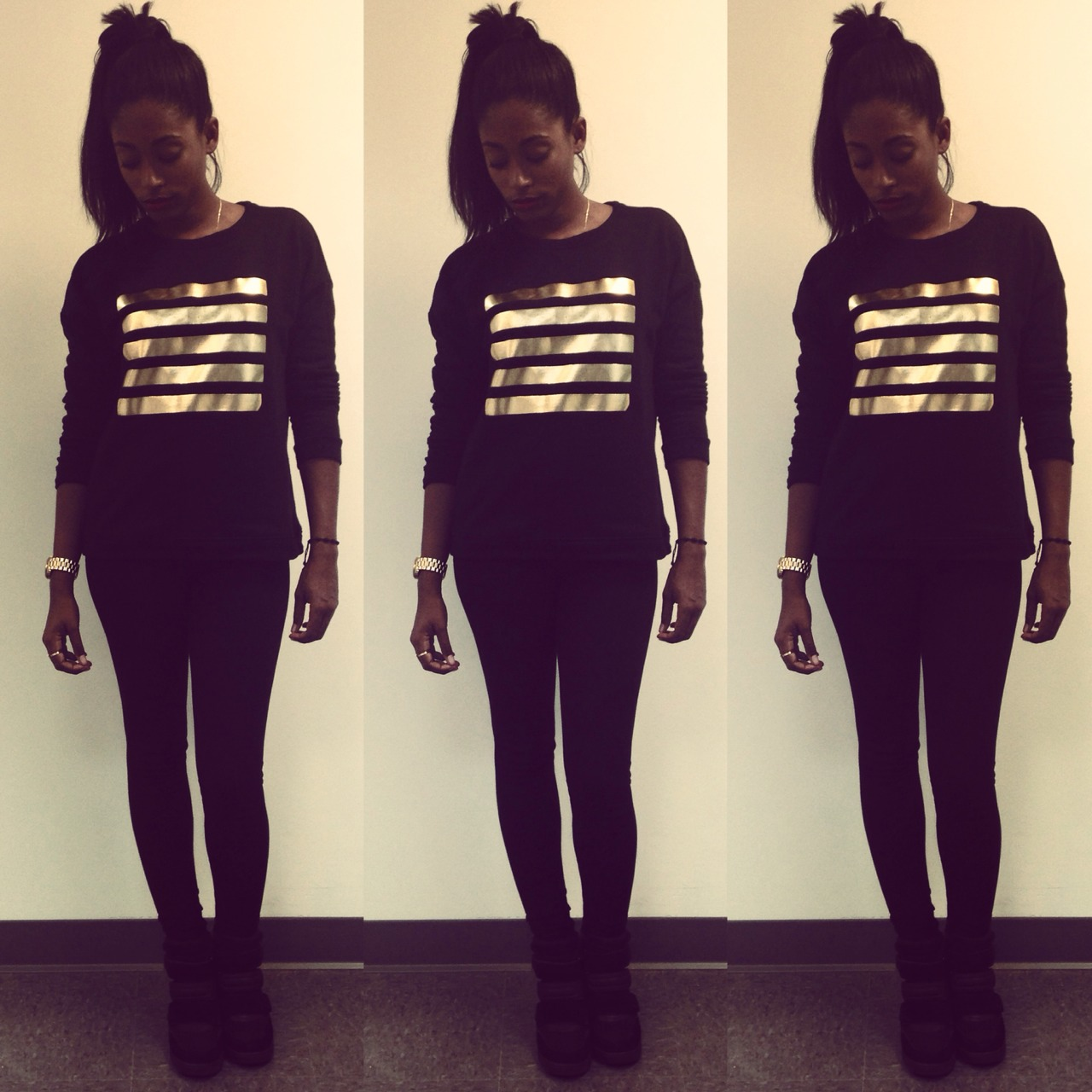 Not So Blurred Lines |||||  Forever 21 Sweatshirt, Zara leggings, Aldo sneaker wedges