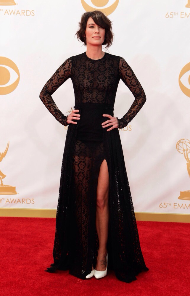 Black and White MADNESS! I literally just lost my breath with this orgasmic Emmy look worn by Lena Headey
