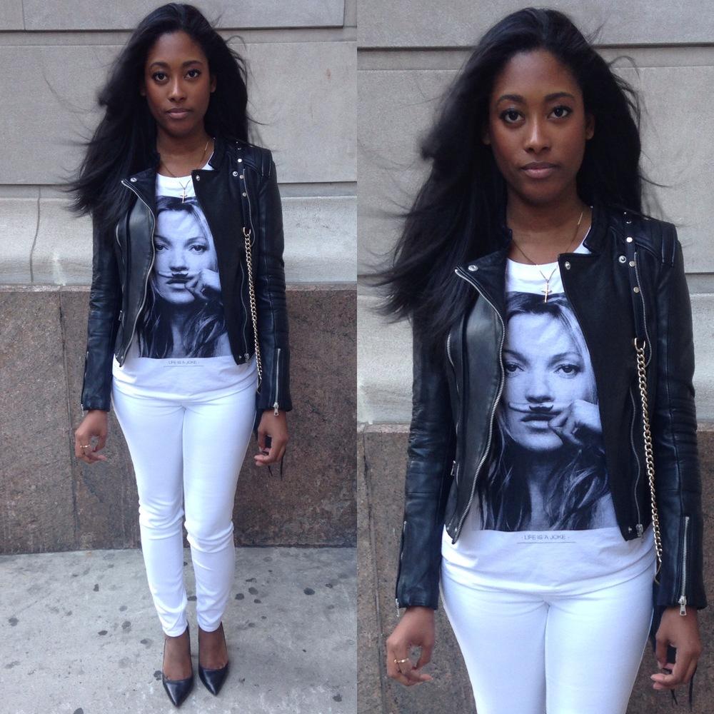 Shirt, Eleven Paris Exclusive at Intermix (Similar)|Leather Jacket, Zara | Jeans, Abercrombie & Fitch