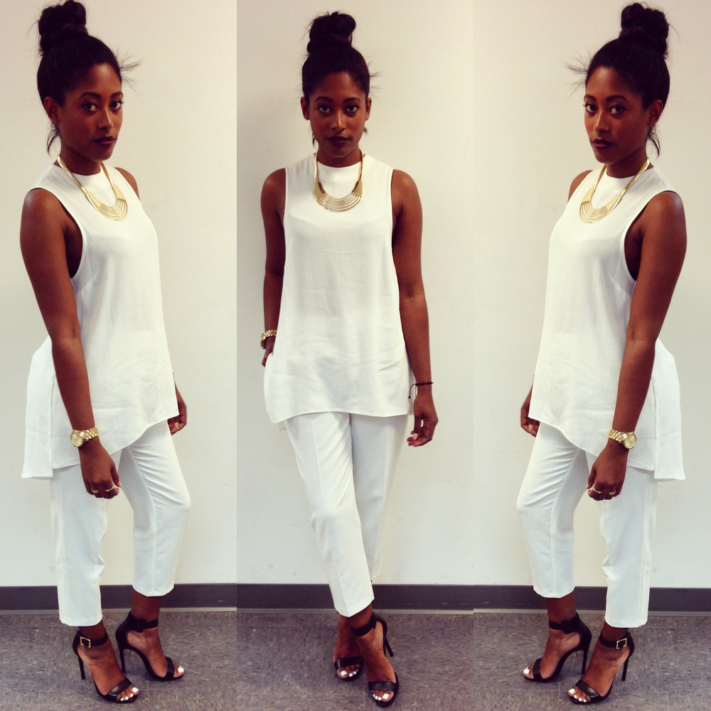 Topshop trousers, tunic, and necklace. Shoes Steve Madden