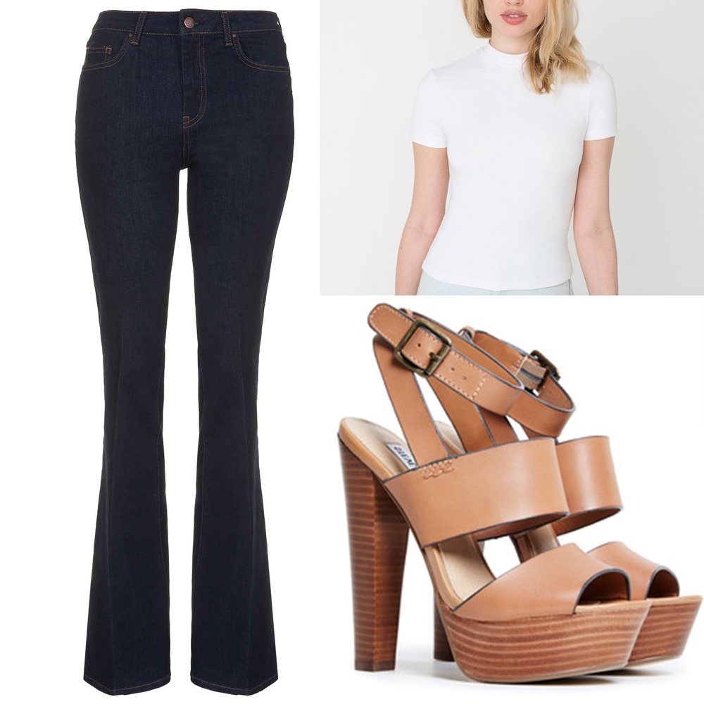 "Denim:  Topshop  Top:  American Apparel  Shoes: Steve Madden ""Dezzzy"""