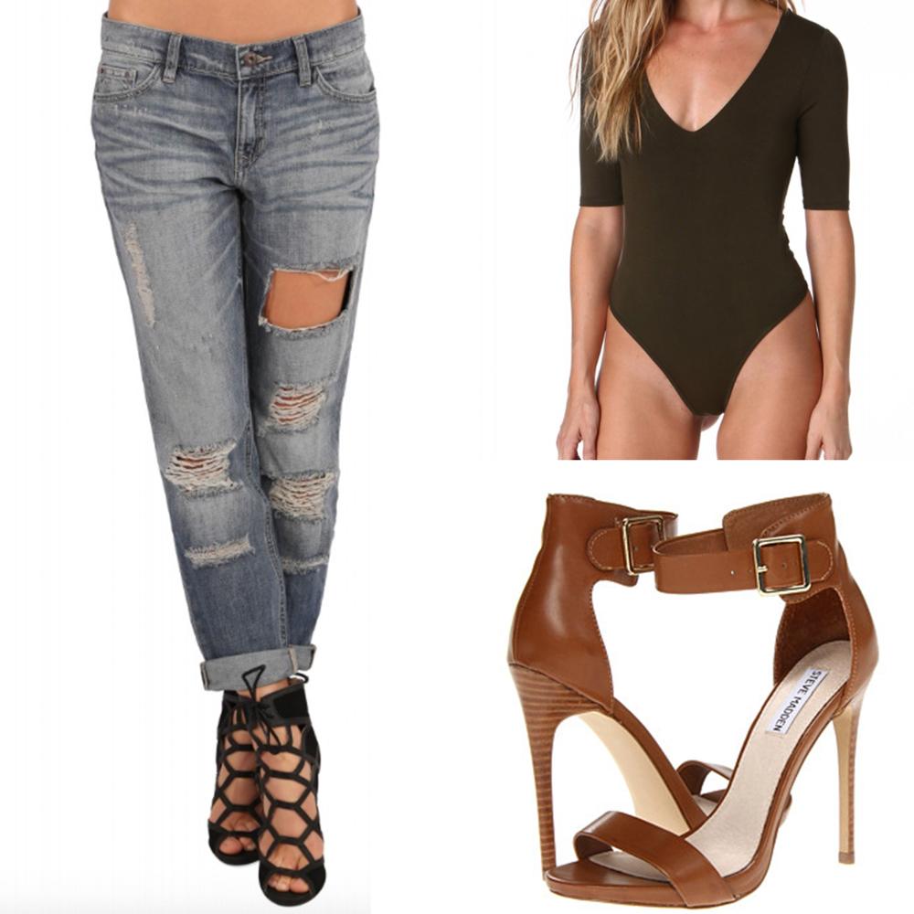Denim: Necessary Clothing Body Suit: Here Shoes: Steve Madden Marlene