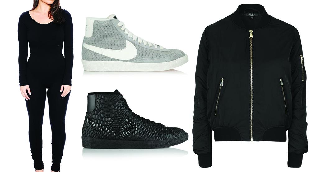 Nike Blazers | Topshop Bomber Jacket | Naked Wardrobe bodysuit