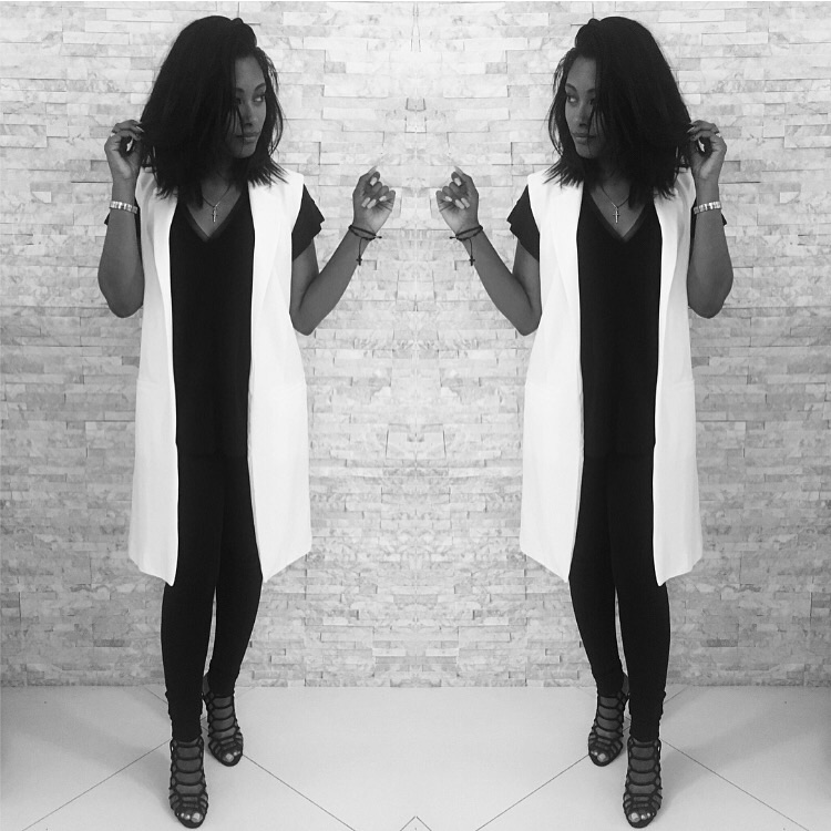 Zara Leggings & Blouse | Forever21 Vest | Steve Madden Heels