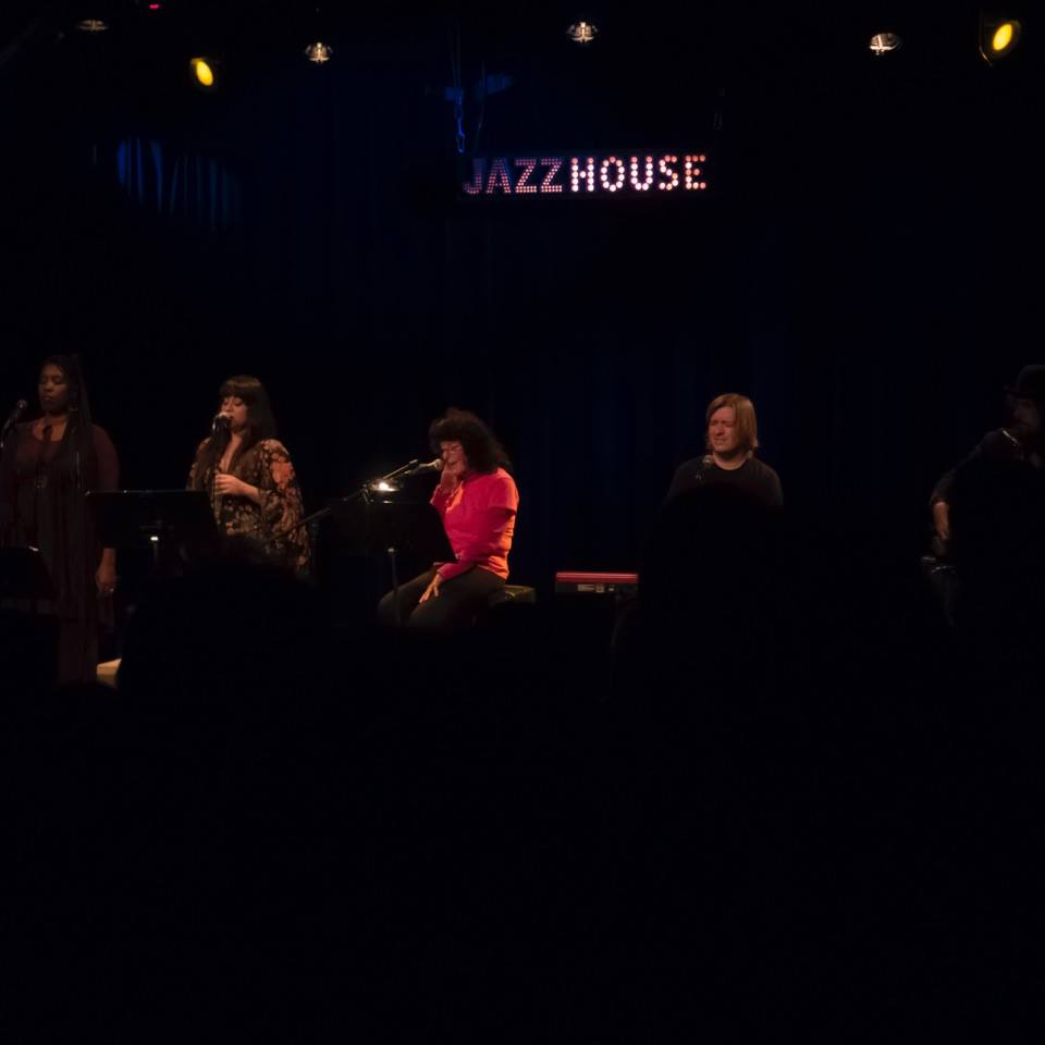 Linda with the band performing at Jazz House in Copenhagen.  Left to Right: Durga McBroom-Hudson, Michelle Vidal, Linda Perhacs, Chris Price, & Fernando Perdomo.