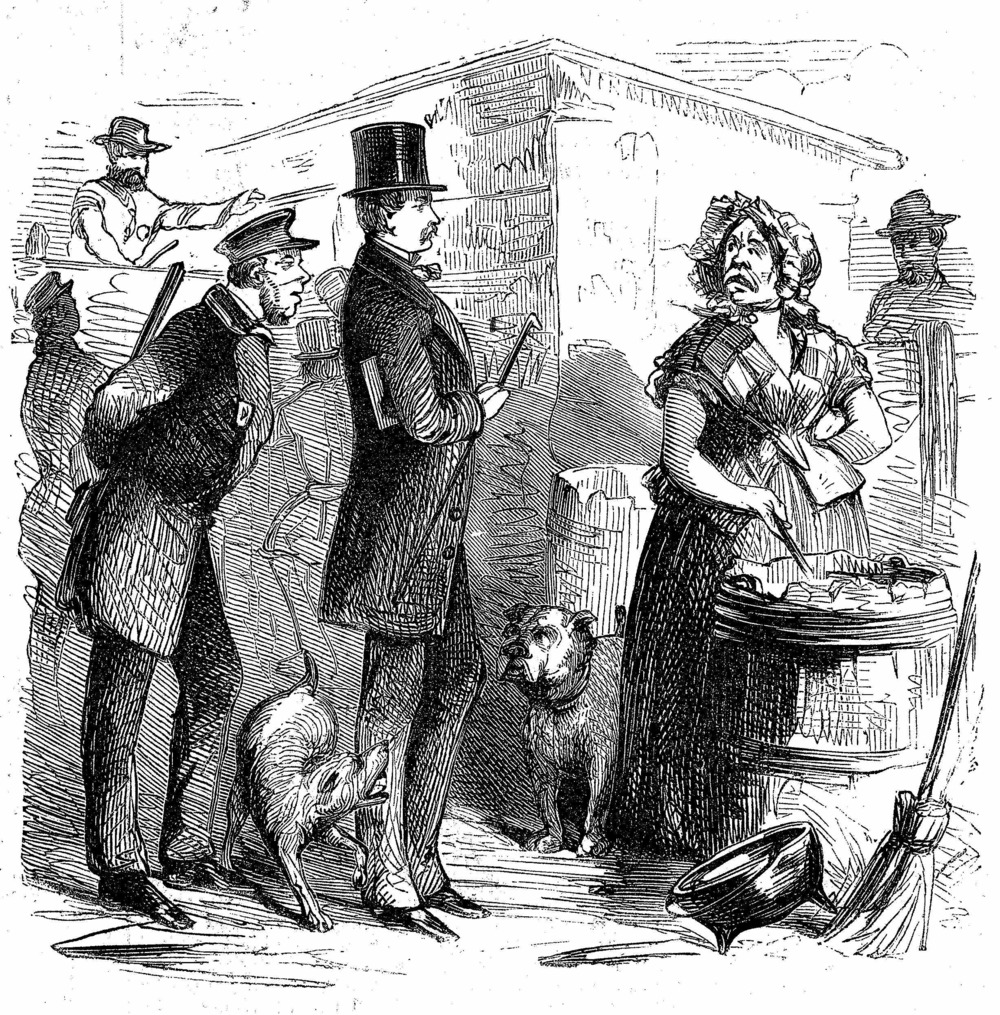 Figure 1: The sanitary inspector and police officer approach a seemingly wary Mrs. McElroy during the Piggery War while she stirs the offal she will later sell to local manufacturers and feed to her pigs. Frank Leslie's Illustrated Newspaper, August 13, 1859.