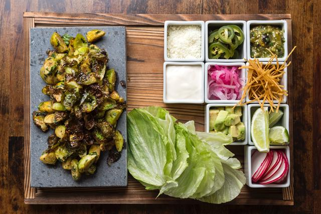 Dirt Candy's Brussels sprout tacos for two
