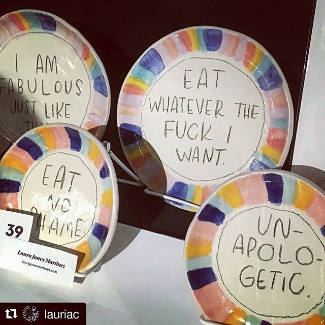 THESE PLATES by @laurajlaura 💖 the @bitchmedia 20th anniversary party was sooo much fun! #nofeminismnofuture