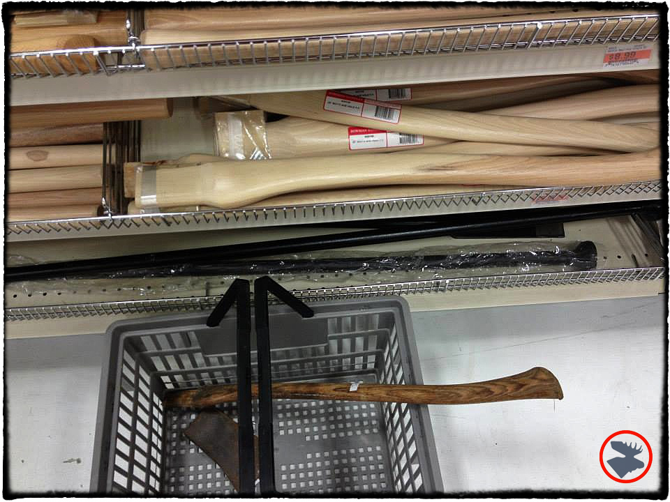 Axe handle options at Mills Fleet Farm (MFF). MFF has a surprisingly good selection of axe handles.