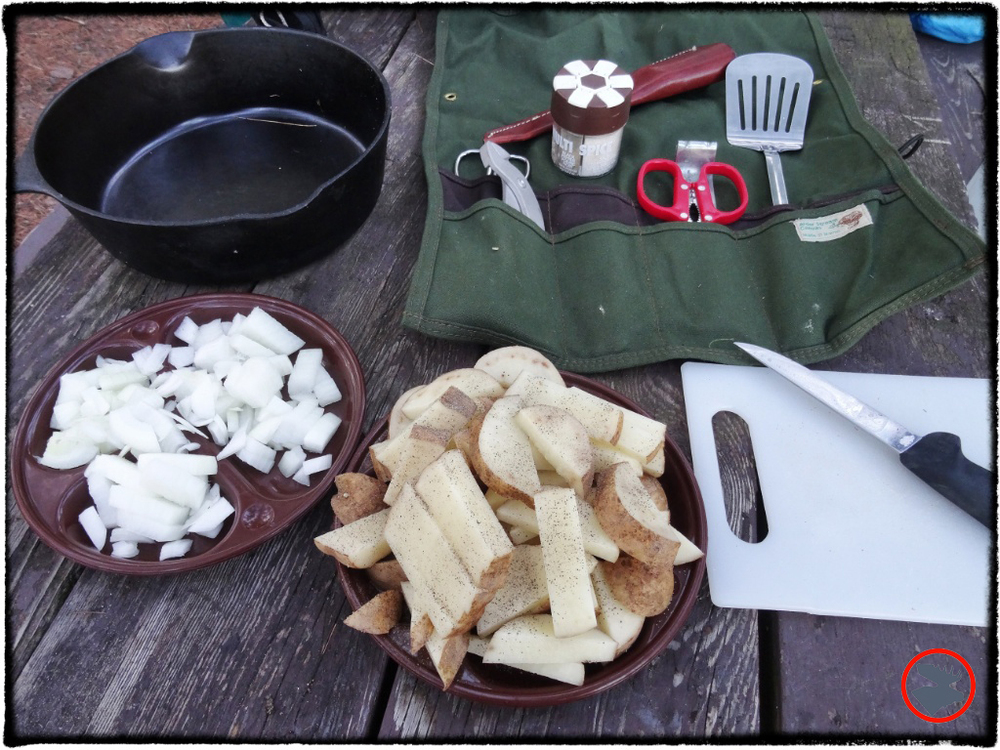 Sliced and spiced potatoes and onions for shore lunch on Lost Canoe Lake in Wisconsin.