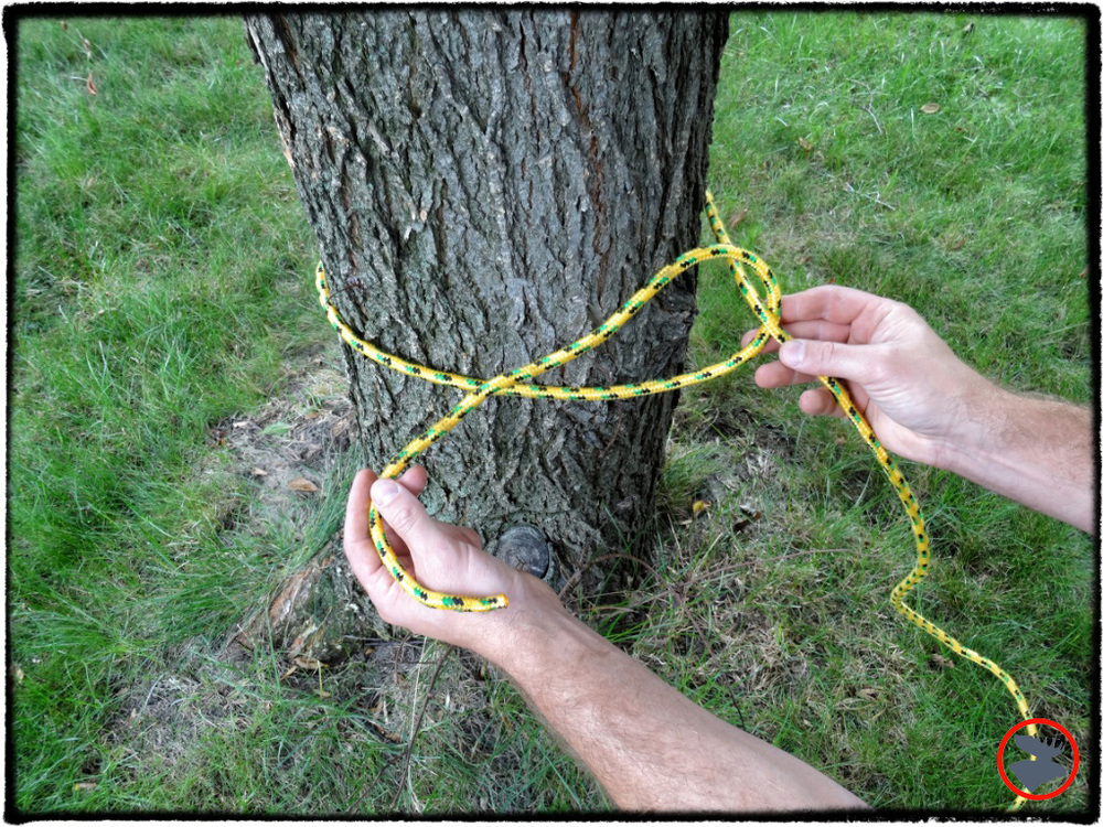 Step 2: Circle the loose end of the rope around the the longer portion of the rope.