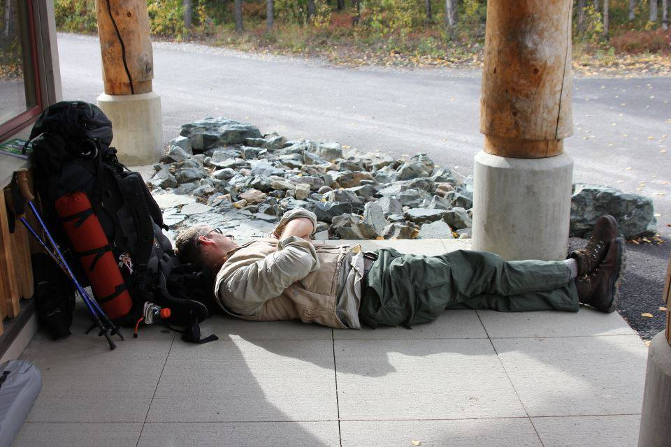 After a big pre-trail night in Talkeetna, I took a quick combat nap while waiting for the bus. The concrete was surprisingly comfortable.