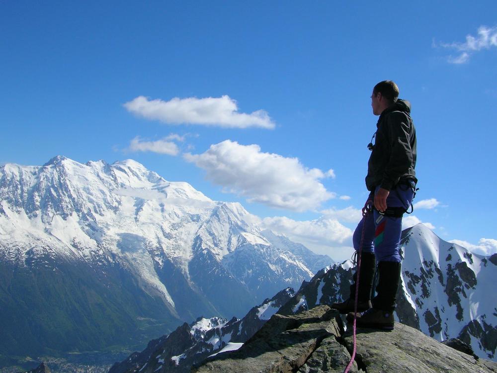 Billy Rioux rock climbing in the Chamonix Valley. Photo credit: www.BillyRioux.com