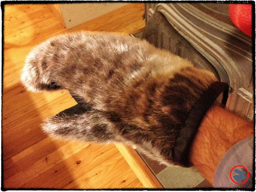 Handmade sealfur mittens from Kuujjuaq Nunavik. Property of Jeff Butler, Northwoods Survival