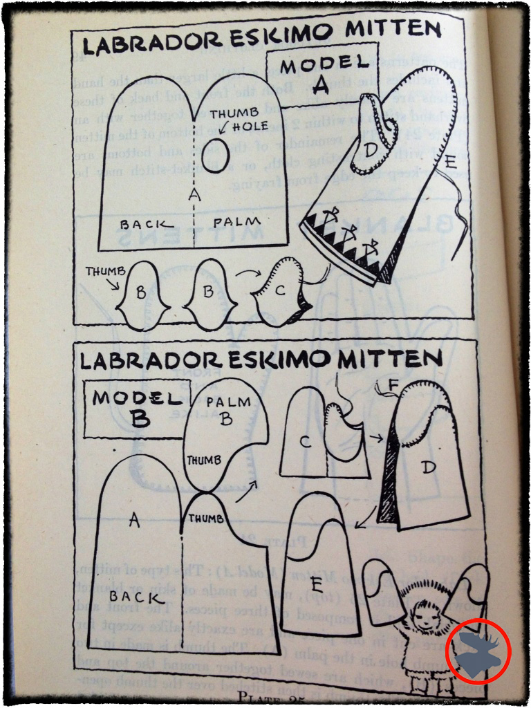 Mitten patterns for homemade mittens. From Wildwood Wisdom by Ellsworth Jaeger