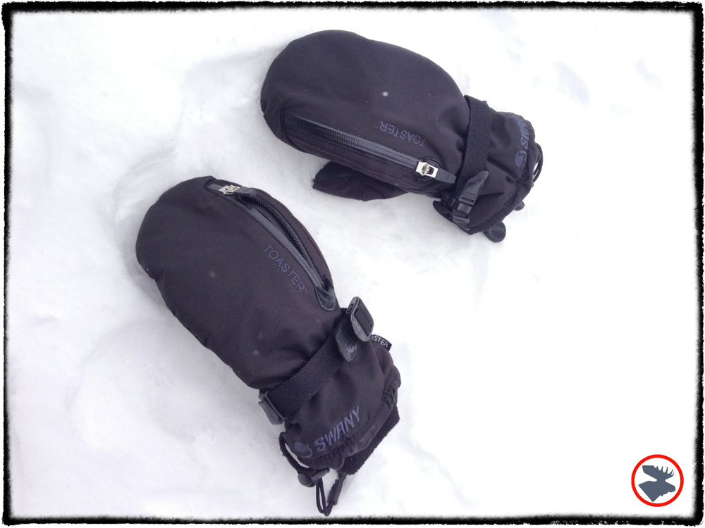 Swany mittens designed to hold hand warmers.