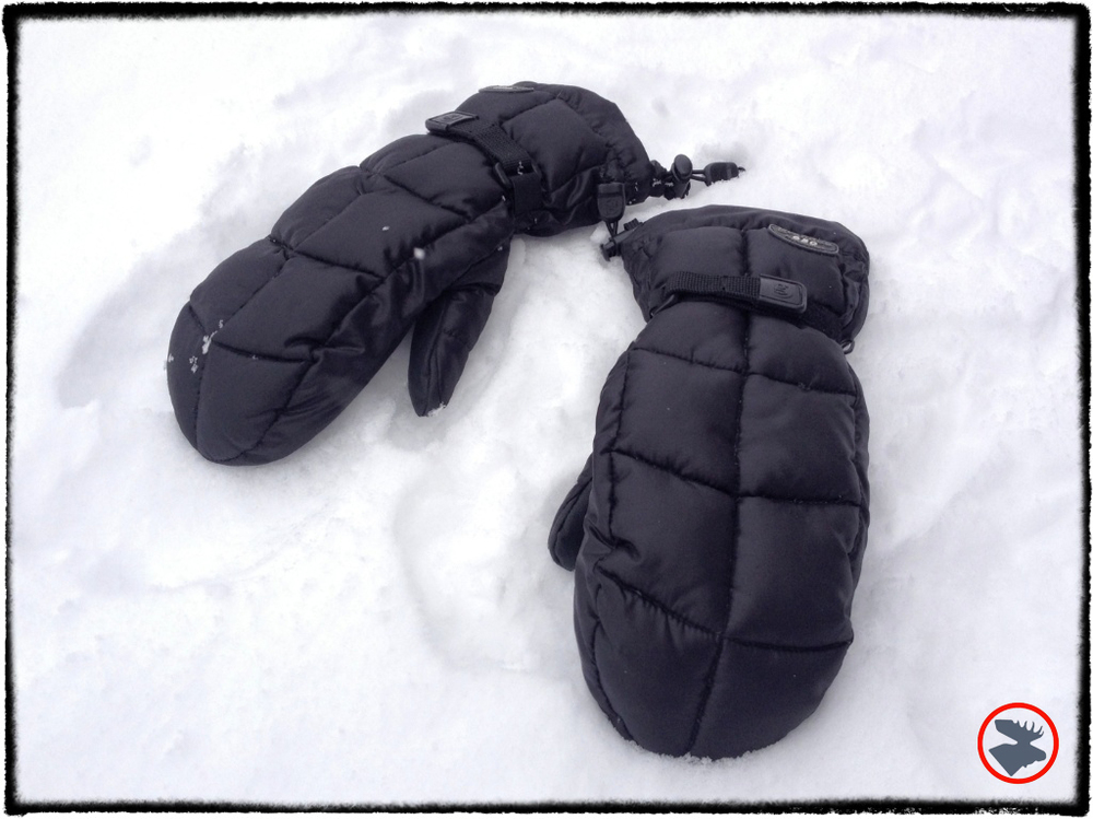 Down-filled mittens.