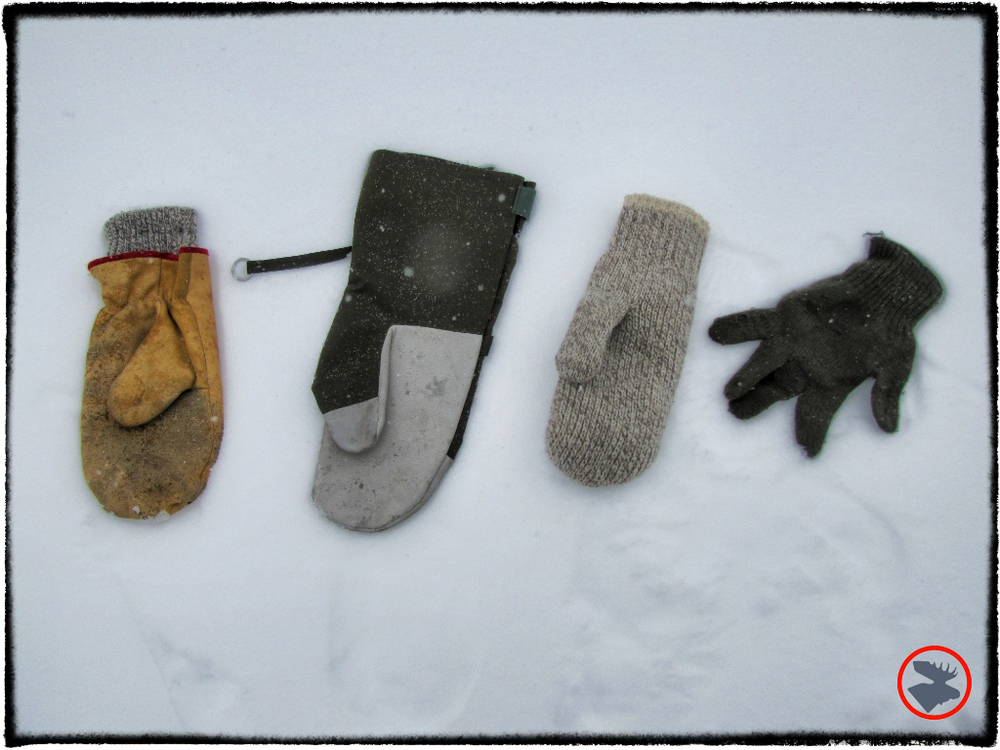 Choppers, Swedish M90 shells, double-thick wool mitts, and USGI wool liners.