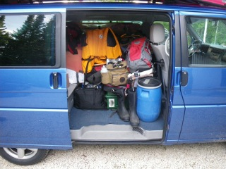 Bob's van loaded with valuable gear and supplies for a long journey into the far north.  Photo courtesy of Bob O'Hara