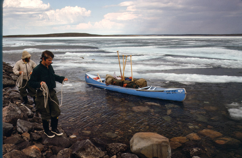 Moving the canoe through arctic ice (1976).  Photo courtesy of Tom Rice