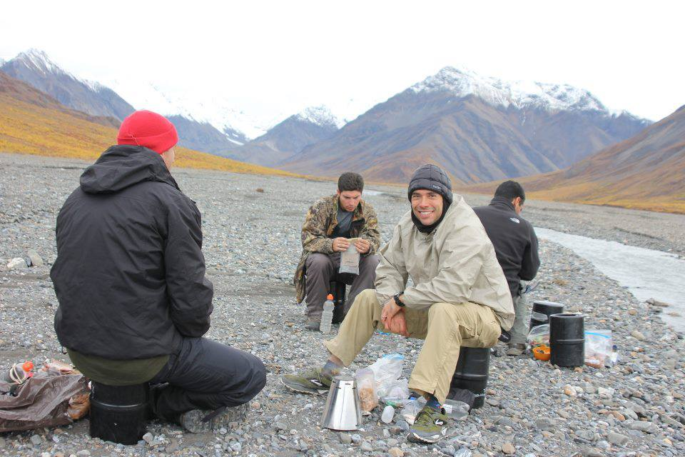 Mark's  ultralight alcohol stove with a Caldera Cone System in Alaska.