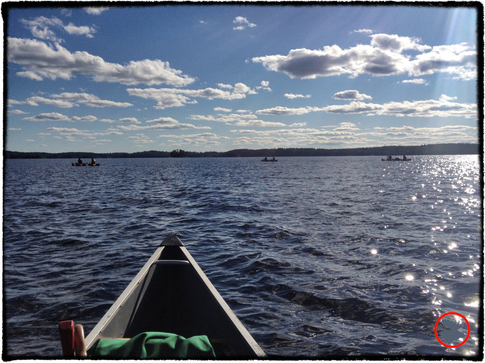 Our canoe crew crossing Pickerel Narrows in the Quetico.