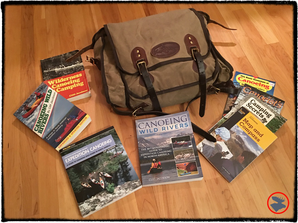 A sampling of the books Cliff Jacobson has written throughout the years, detailing his canoeing experience and lessons. The pack pictured above is the Frost River Cliff Jacobson pack, designed by Cliff for  Frost River--a great bag for canoeing or hiking adventures .