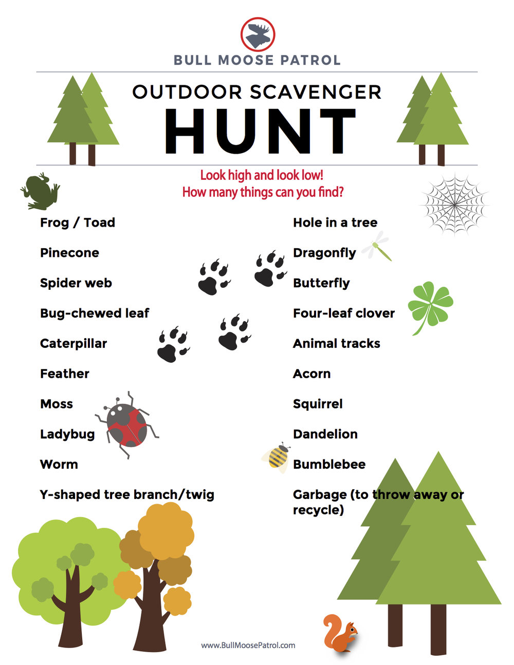 Download and print our outdoor scavenger hunt list!