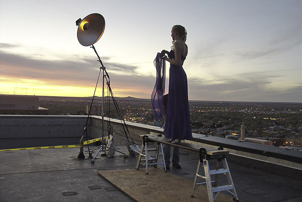 The sun sets high atop downtown Albuquerque as we begin shooting.