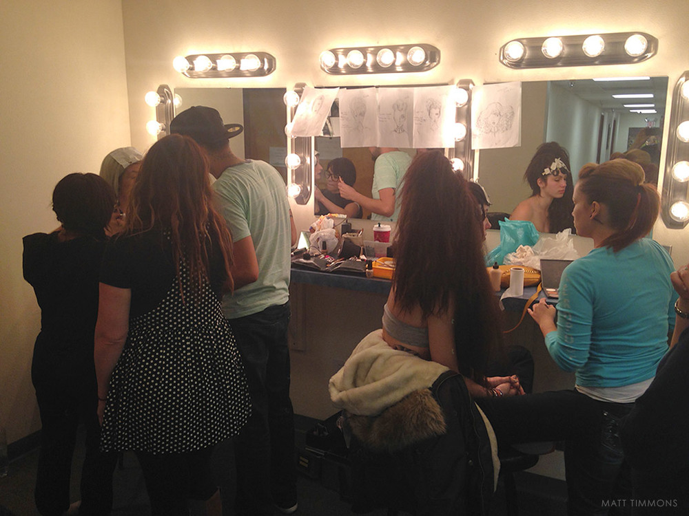 The Mark Pardo Team working on the looks.